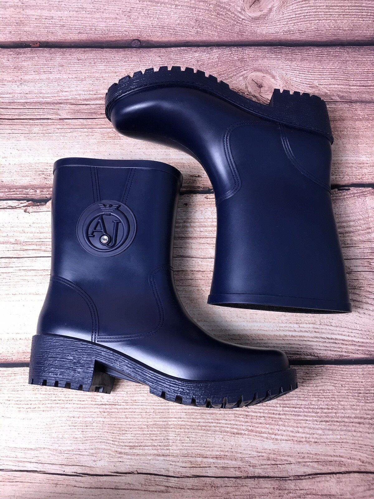 Armani Jeans Navy Rain Boots Size 38