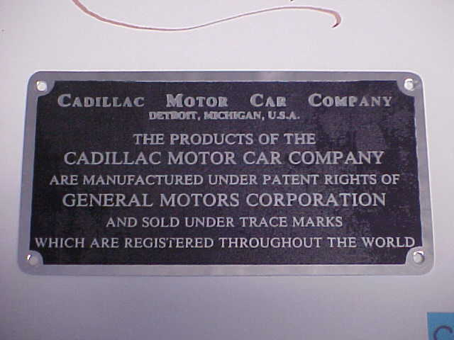 Cadillac Cadillac Cadillac Firewall Daten Platte Licht Etch & Schwarz Eloxiert Nos 18f82f