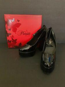 Pleaser-Dolly31-B-Black-Patent-Platform-Ankle-Strap-Heels-Size-8-Sexy-Retro-Hot