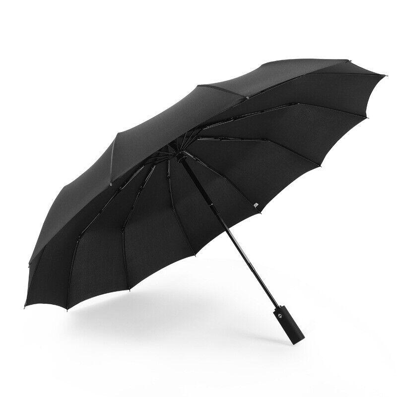 Men Women Automatic Strong Folding 12 Ribs Black Umbrella Windproof StormproofDH
