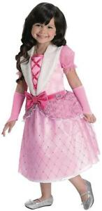 Rosebud Princess Barbie Pink Gown Fancy Dress Up Halloween Deluxe Child Costume