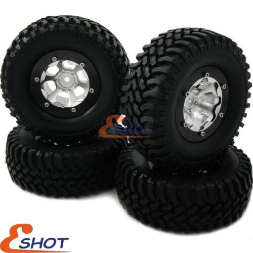 4pcs RC 1.9 Crawler Tire 100mm /& Alloy 1.9 Beadlock Rims For 1//10 RC 4WD Crawler