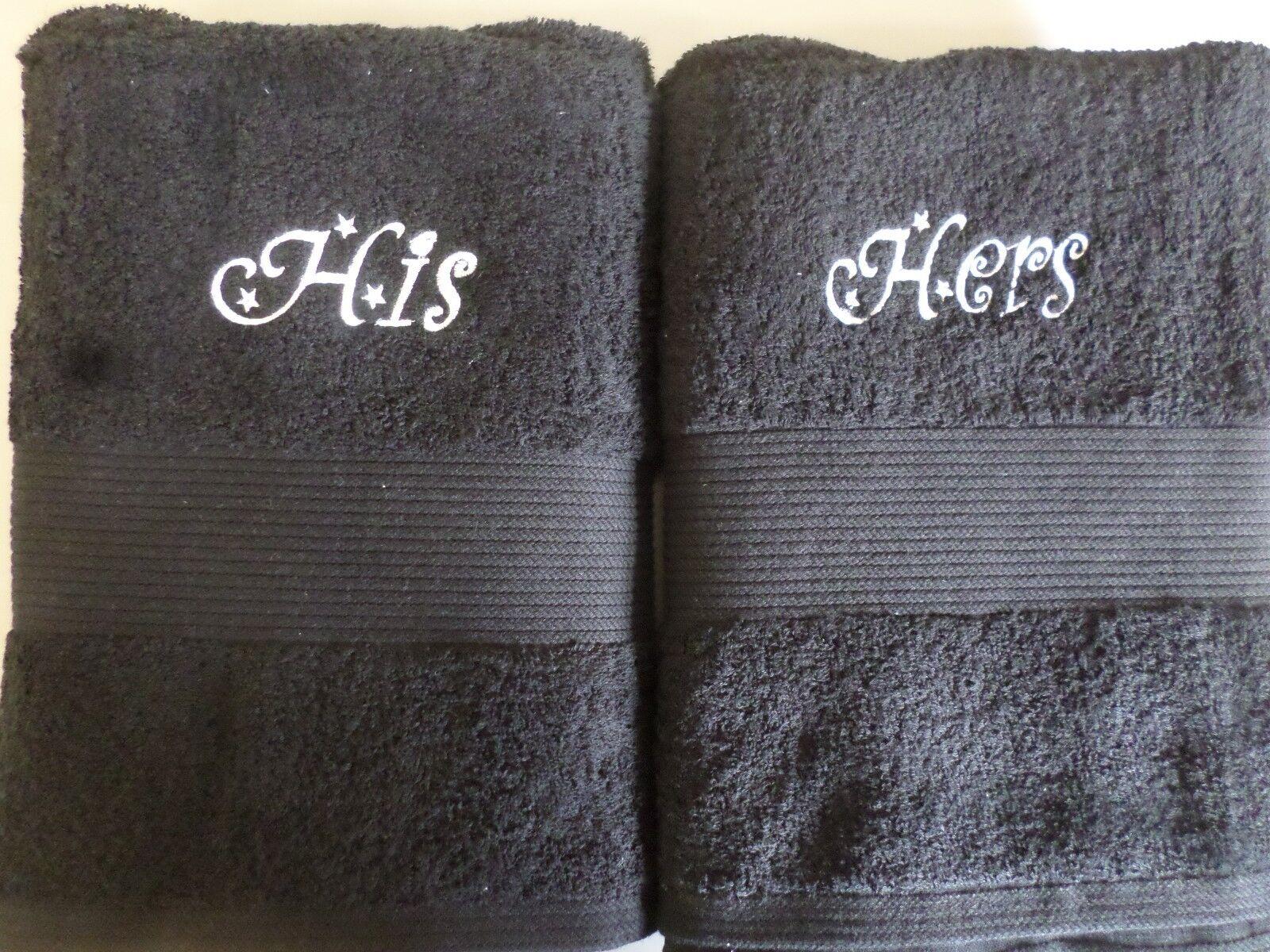 Luxus 600gsm Schwarz Handtücher Geprägt mit Seine Ihre   His His Hers Hers     Outlet Store Online