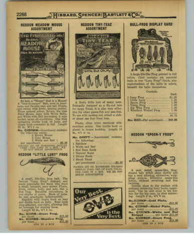 1929 PAPER AD Heddon Stanley River Runt SOS Wounded Minnow Little Luny Frog Bull