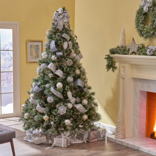 7-foot Cashmere Pine and Mixed Needles Hinged Artificial Christmas Tree with Sno