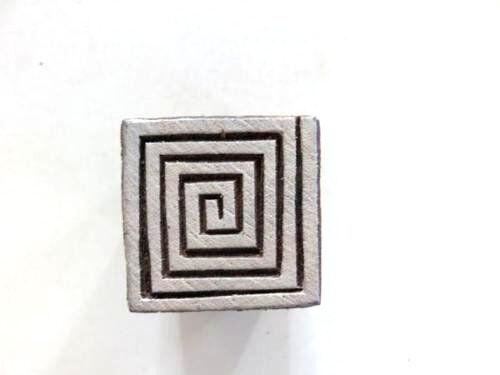 Indischer Holz Stempel Viereck Meander Textil Stempel,Hennastempel Nr 1529
