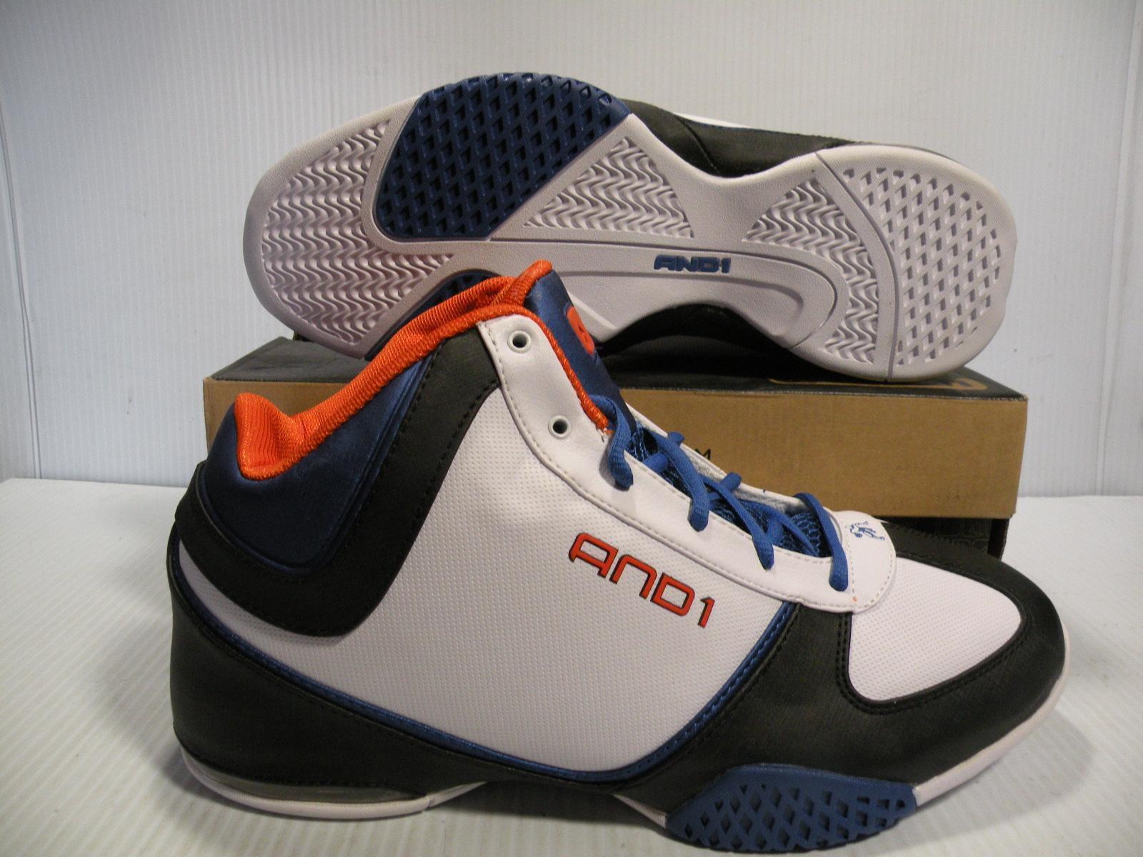 AND1 MUCHO Schuhe GUSTO MID BASKETBALL MEN Schuhe MUCHO Weiß/BLACK/Blau 321674 SIZE 8 NEW aa17ef