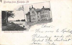 Kankakee-Illinois-Rowboat-on-River-Steuben-School-Art-Nouveau-Postcard-1905-B-amp-W