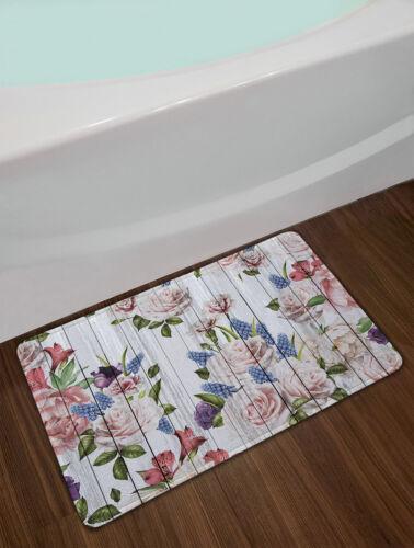 Rustic Wooden Boards Blooming Flowers Shower Curtain Set Waterproof Fabric Hooks