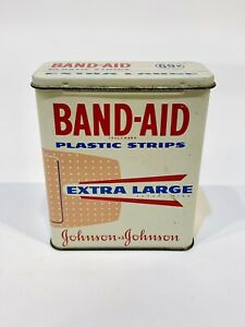 Vintage-Johnson-amp-Johnson-Band-Aid-Tin-Plastic-Strips-Extra-Large-Empty