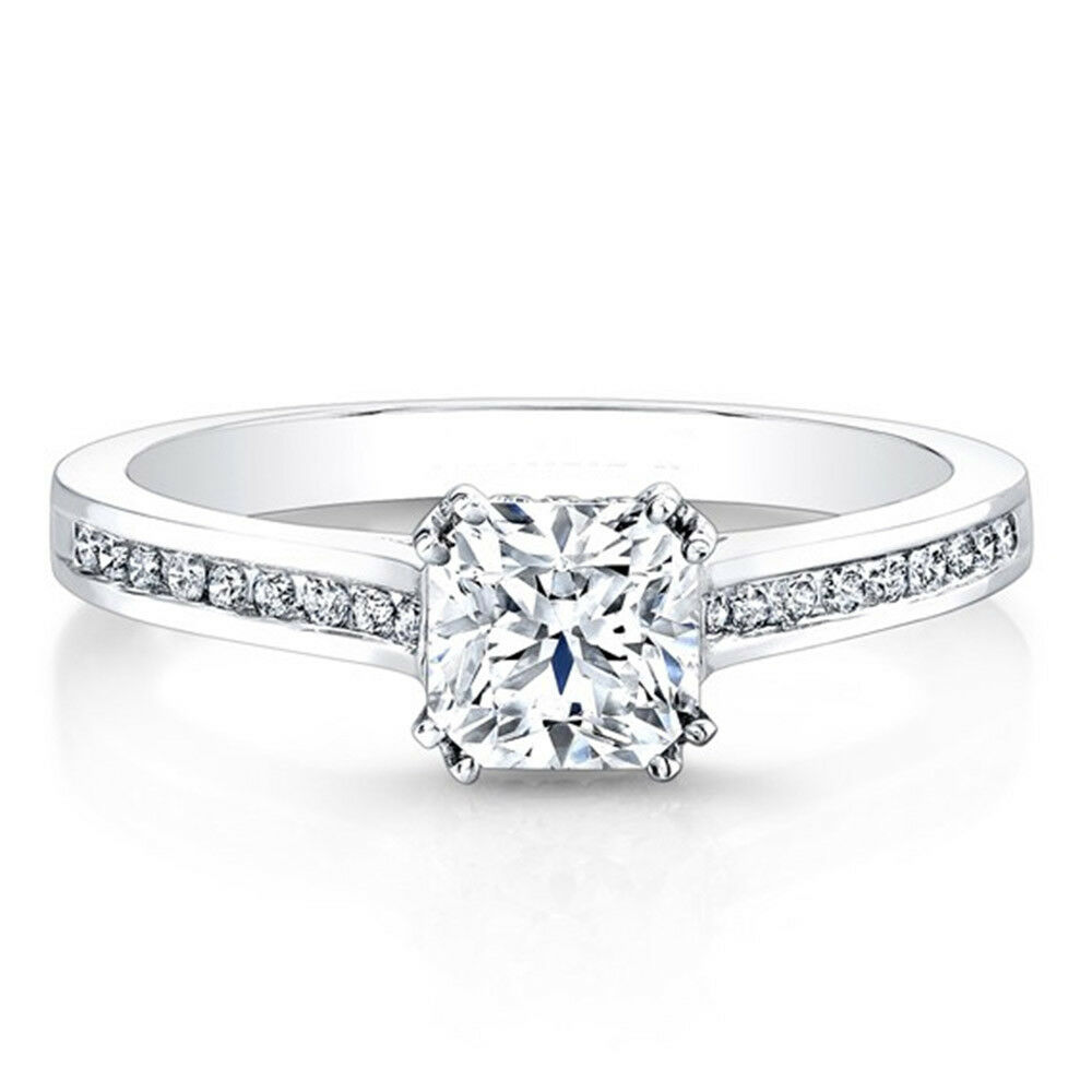 0.55 Ct Real Cushion Cut Diamond Womens Ring 14K Solid White gold Size 6 7 8 5.5