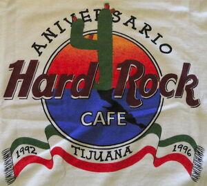 Hard-Rock-Cafe-TIJUANA-1996-4th-Anniversary-White-Tee-T-SHIRT-Large-21-034-x-18-5-034