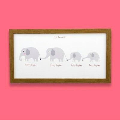 Long Personalised Elephant Family Names Print 1st Xmas Christmas Birthday Gift