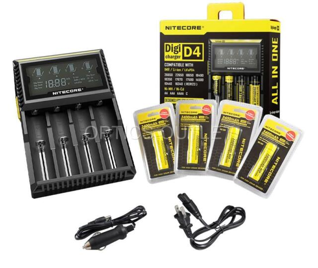 Nitecore D4 Digicharger Universal Charger w/ 4x 3400mAh 18650 & Car Adapter [i4]