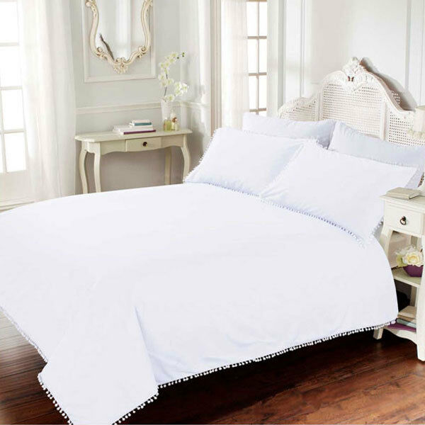 Bellissimo Pom Pom 100% Cotton 200 Thread Count Duvet Cover Set, Weiß