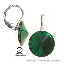 Ohrringe mit Swarovski Elements, Farbe: Smaragd 14mm