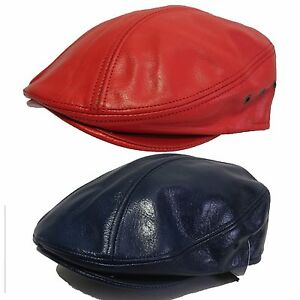 204b54d59c6 100%GENUINE LEATHER SNAP BRIM NEWSBOY ASCOT IVY DRIVING GOLF CAP HAT ...