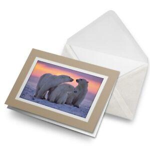 Greetings-Card-Biege-Happy-Family-Polar-Bear-Winter-Sunset-8310