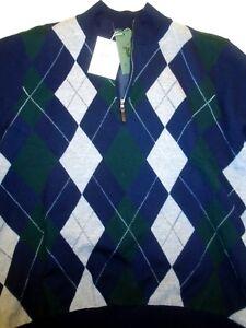 5848be873af Fairway   Greene Merino Wool Quarter Zip Navy Argyle Sweater NWT ...