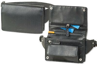 Rimbaldi® kompakte flache Bauchtasche aus weichem Nappa Leder in Schwarz