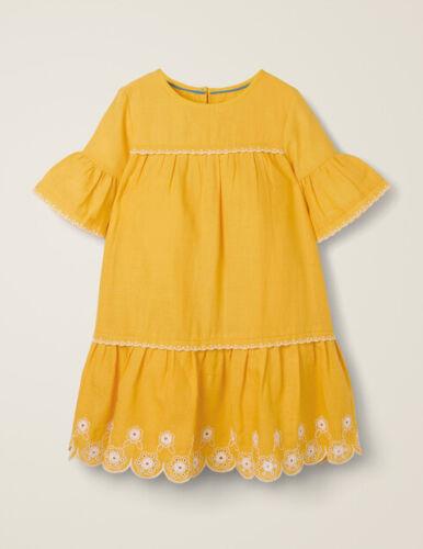 New Mini Boden drop waist broderie hem Dress 2-16 years  Yellow