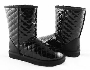 84c1ef42d4f Details about UGG Classic Short Quilted Black Patent Leather Boots Size 6  *NEW IN BOX*