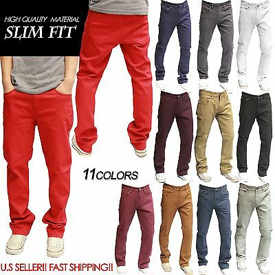 Men's Slim Jeans Twill Denim Slim Fit KHAKI BLACK 11 COLORS  [30~38]