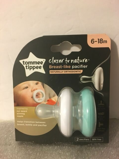 0-6 months Tommee Tippee Closer To Nature Soother Pacifier Breast-Like Shape 4 count White /& Ice Blue BPA-free