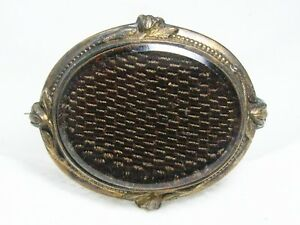 Antique Gold Filled Victorian / Georgian Woven Mourning Hair Brooch~C-Clasp