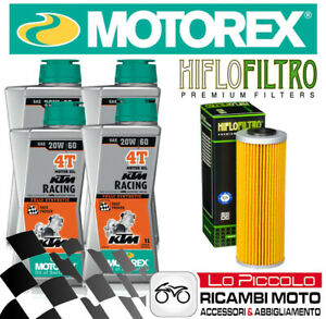 KIT TAGLIANDO 4 LT OLIO MOTOREX RACING 20W60 + FILTRO KTM LC8 Adventure 990 2007