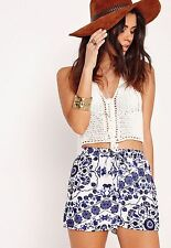 Missguided Womens Porcelain Print Shorts Size 6 Uk BNWT RRP £15.99 White Blue