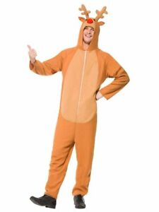 Brown-Reindeer-Costume-Hooded-Jumpsuit-Christmas-Animal-Adult-Rudolph-SM-XL