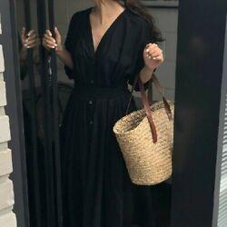 Damen Leinen Baumwolle Kleid V-Ausschnitt Lang Gürtel Knopf Locker Freizeit Weiß