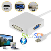 Mini Display Port Thunderbolt to HDMI VGA DVI Adapter For MacBook Pro iMac Air