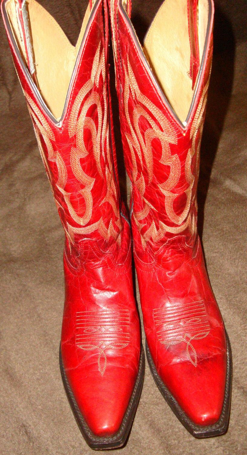 Western - Cowboystiefel USA IBIZA Echtleder rot TREND Muster Gr. 37 neuwertig