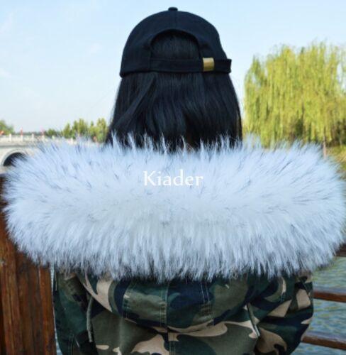 Luxury 100/% Genuine Raccoon Fur Collar scarf trim for Down Jacket Hood Scarf