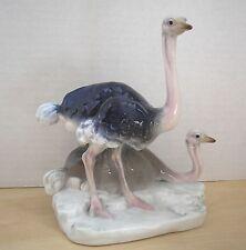 """Antique Karl Ens Bird Ostrich figurine Volkstedt signed A Bergen Green Mark 7.5"""""""