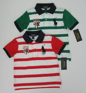 NWT-Ralph-Lauren-Boys-Short-Sleeve-Big-Pony-Striped-Mesh-Polo-Shirt-Sz-5-6-7-NEW