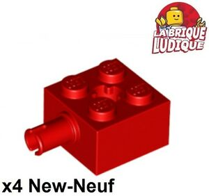 Lego - 4x Brique Brick Modified 2x2 pin axle axe hole rouge/red 6232 NEUF