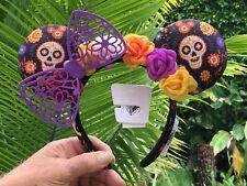 Disney Parks Coco Dia de Los Muertos Black Floral Lace Minnie Ears New Headband