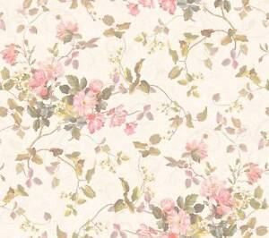 Details About Wallpaper Floral Branch Bouquet Rose Pink Peach Flowers Ivory Background