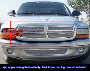 Exterior Fits 97-04 Dodge Dakota 97-03 Durango Stainless Steel Billet Grille Insert