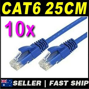 10-x-25cm-0-25m-Blue-Cat-6-Cat6-1000Mbps-RJ45-Ethernet-Network-LAN-Patch-Cable