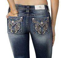New Miss Me Womens Denim Jeans Fallen Angel Wings Faux Flap Pockets Big Stitch