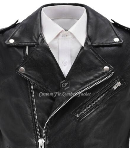 d'agnello Gilet Brando uomo in nero stile 1025 vera pelle Motociclista da motociclista SxUwqvrU