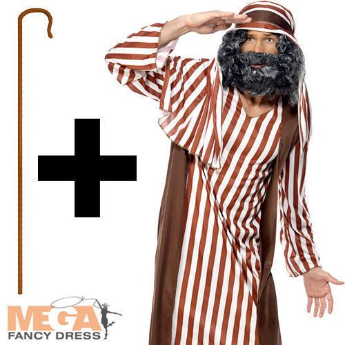 Crook Staff Mens Christmas Nativity Fancy Dress Adults Joseph Costume Shepherd