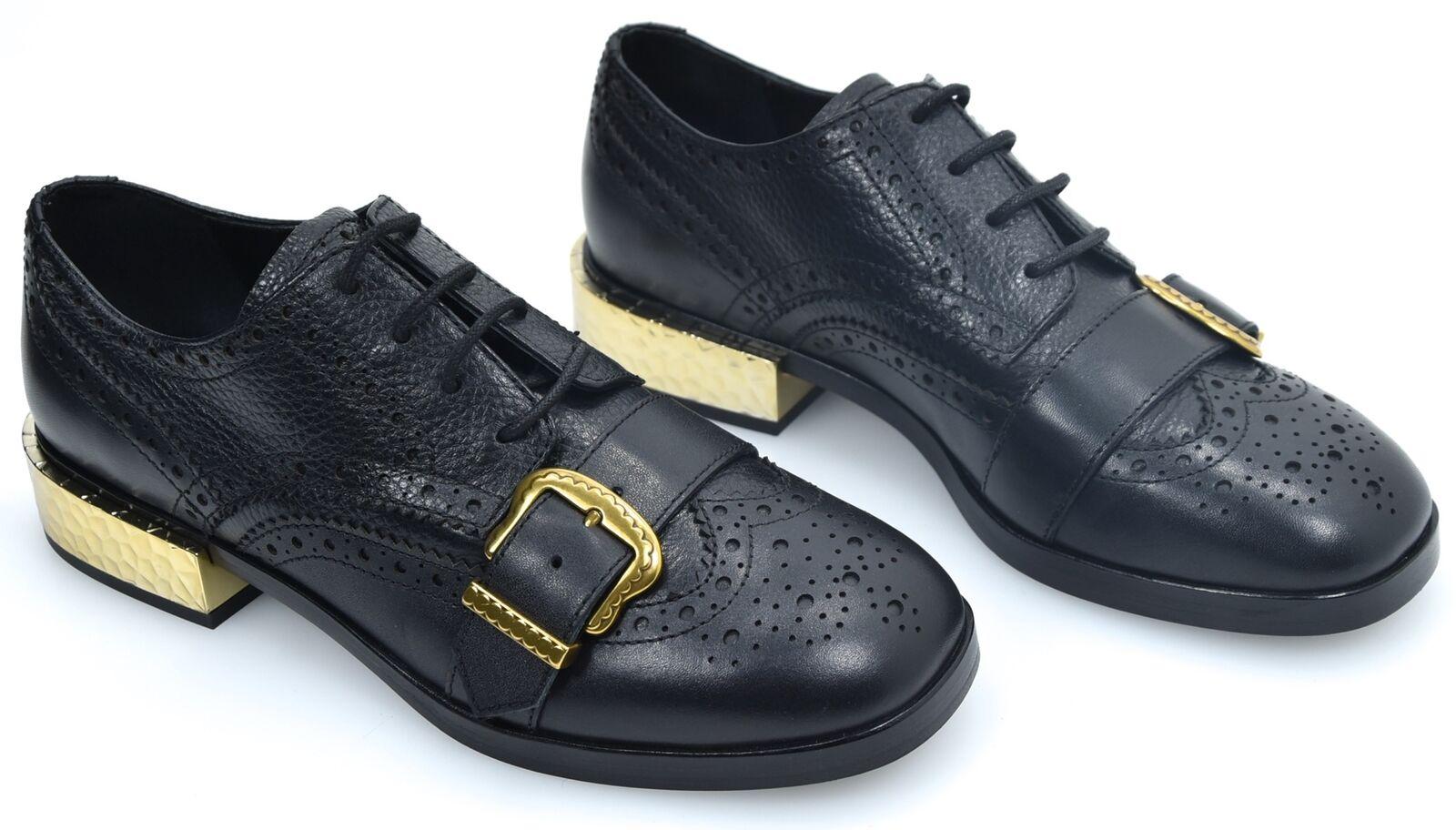 ASH WOMAN CLASSIC DERBY schuhe schwarz schwarz schwarz LEATHER CODE SS18-M-122650-001 FREAK 813009