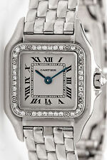 RARE $18,000 Factory Diamond CARTIER 18k White Gold PANTHER Ladies Watch 75g