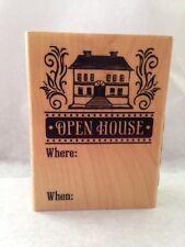 Inkadinkado OPEN HOUSE realtor new home  invitation wood Rubber Stamp NO INK