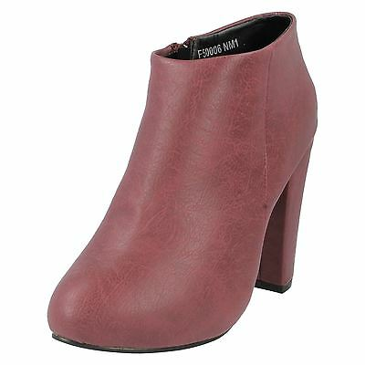 Señoras de punto en Borgoña de tacón altos cremallera los zapatos f50006